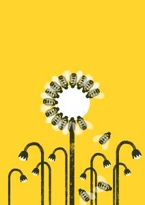 Flor con abejas como pétalos, algunas caídas, y al fondo, flores marchitas.