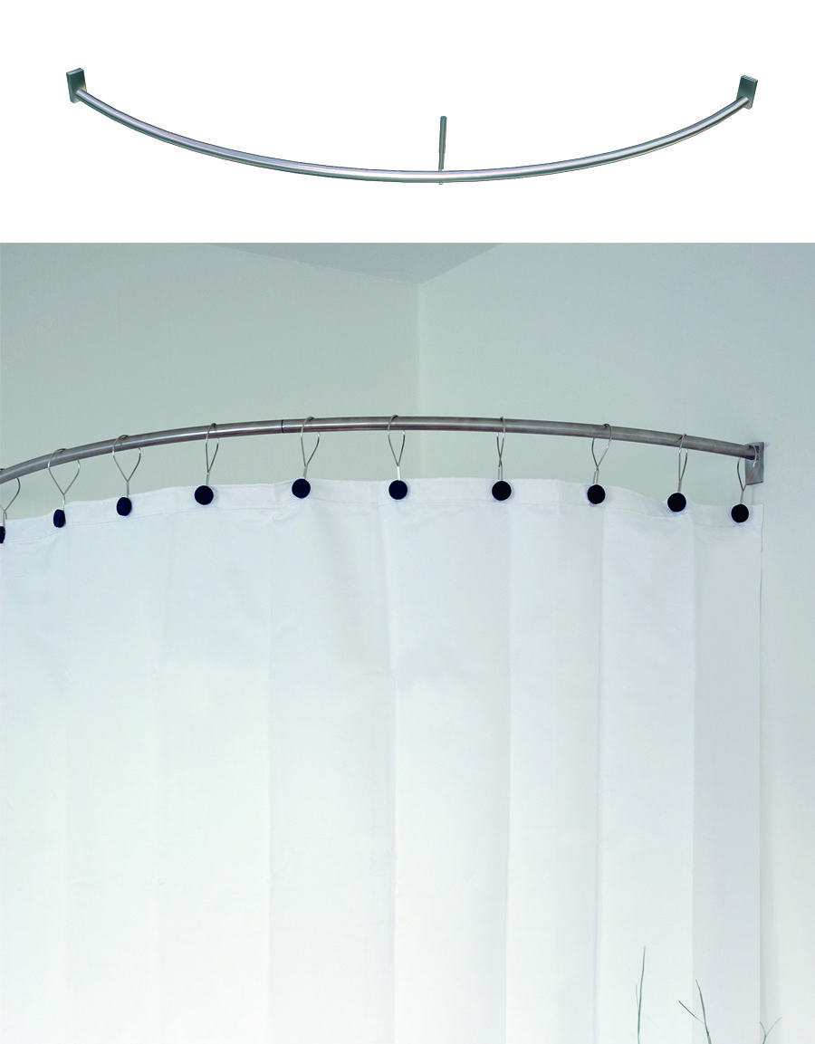 curved shower curtain rail for corner shower incl brackets and ceiling support steel