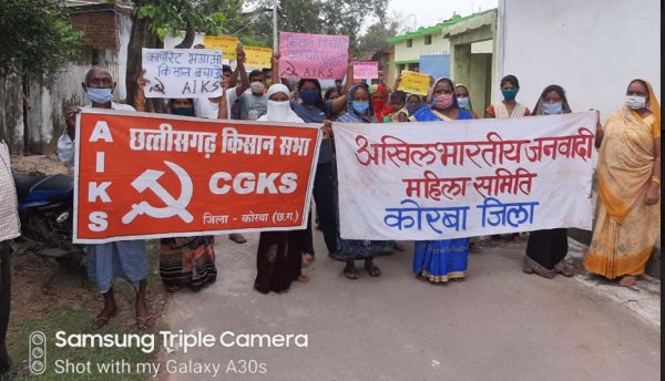 Demonstrations held in many places in Chhattisgarh against anti-agricultural laws