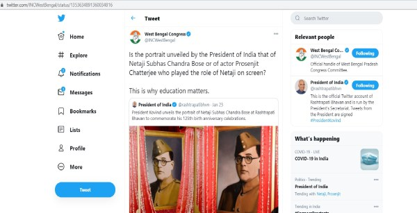 West Bengal Congress Tweet On President Of India