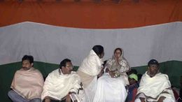 Mamata Banerjee during a sit in dharna protest against CBI raid to Kolkata Police Commissioner house