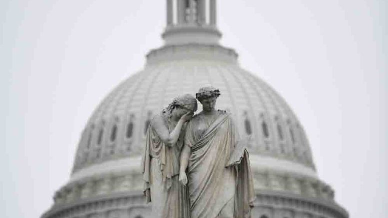 WASHINGTON, Dec. 29, 2018 (Xinhua) -- Photo taken on Dec. 28, 2018 shows the Capitol Hill in Washington D.C., the United States. The U.S. Senate convened briefly Thursday afternoon before adjourning until next week, with no signs of a deal to end the bud
