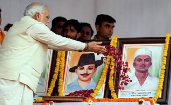 Martyrs Bhagat Singh, Rajguru, Sukhdev and the shameless Hindutva Gang