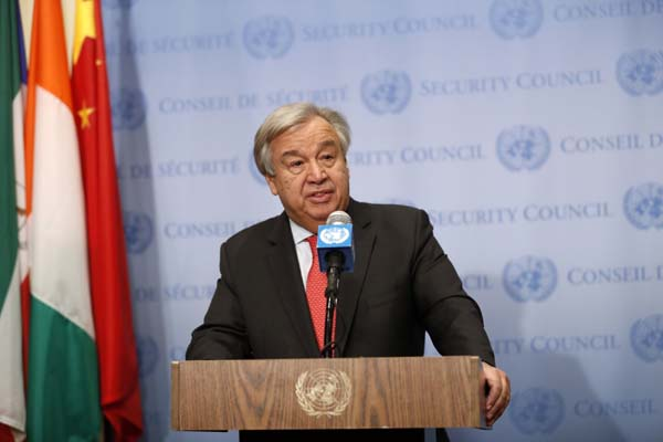 UNITED NATIONS, Nov. 28, 2018 (Xinhua) -- United Nations Secretary-General Antonio Guterres speaks to reporters during a press encounter at the UN headquarters in New York, Nov. 28, 2018. Antonio Guterres on Wednesday called for strong leadership in the global fight against climate change. (Xinhua/Li Muzi/IANS)