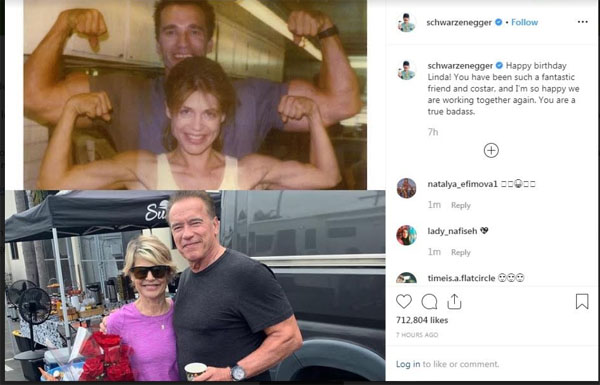 Arnold Schwarzenegger sends birthday wishes Terminator co-star Linda Hamilton with fun throwback picture