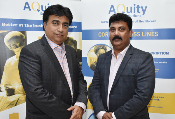 (L-R) Mr Kashyap Joshi, President & CEO and Mr Agnelo Rodrigues, Executive Director, Company Secretary & Chief Compliance Officer – India; briefing media about Aquity Solutions - market leader in the medical transcription space, plans to ramp-up India operations to leverage rising market opportunities, at a Press Conference, today at Taj Krishna.