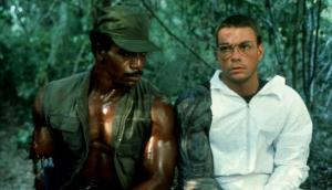 Jean Claude Van Damme e Carl Weathers nos bastidores de Predador (Jean Claude Van Damme and Carl Weathers making of Predator)