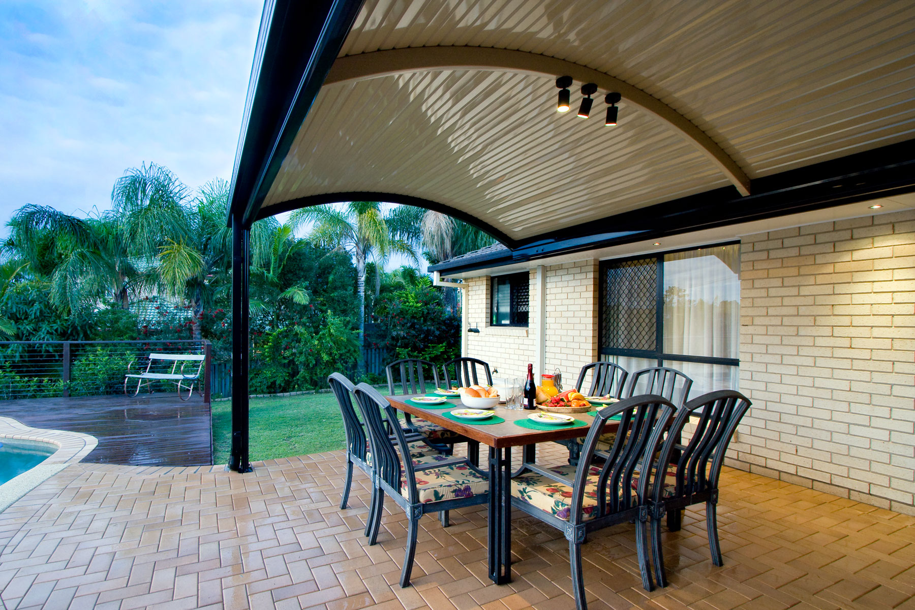 Patio with curved roofs - Stratco Outback Curved Roof Patio on Porch Backyard Ideas id=81458