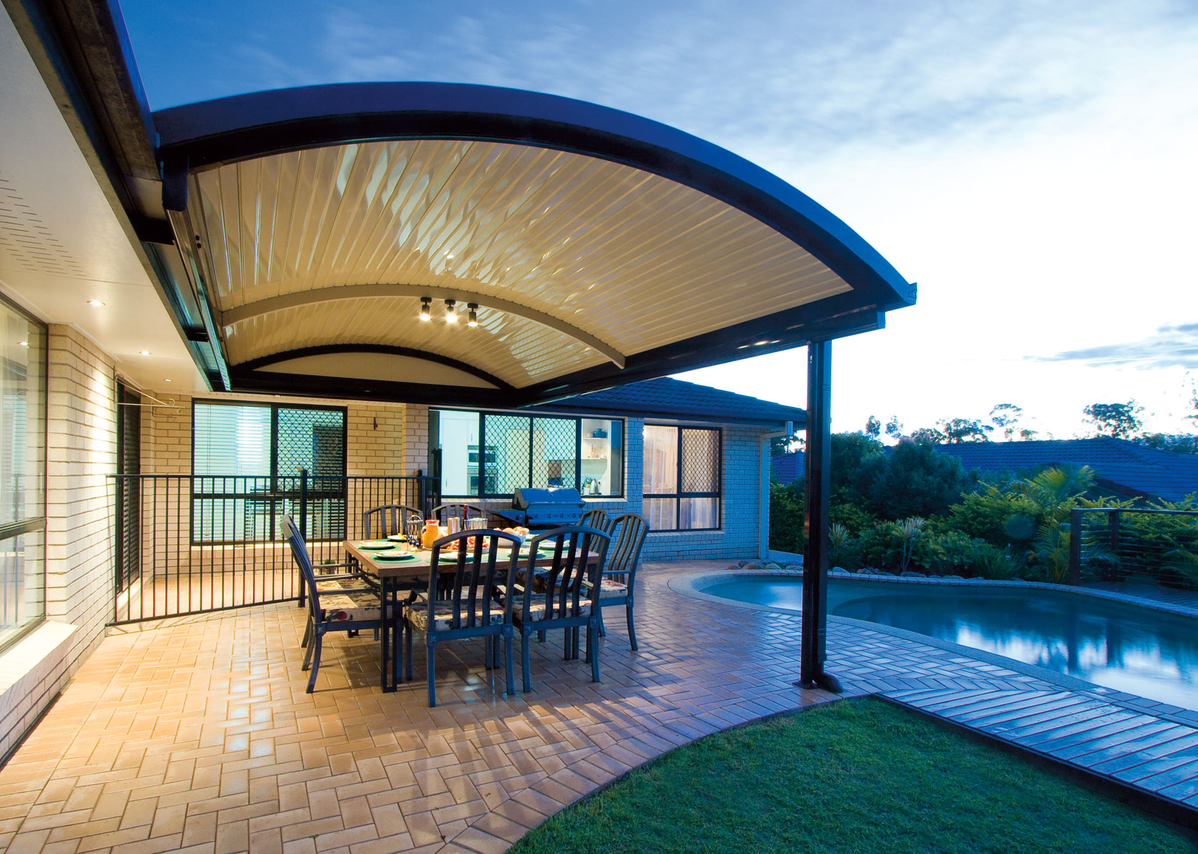 Patio with curved roofs - Stratco Outback Curved Roof Patio on Roof For Patio Ideas id=47984