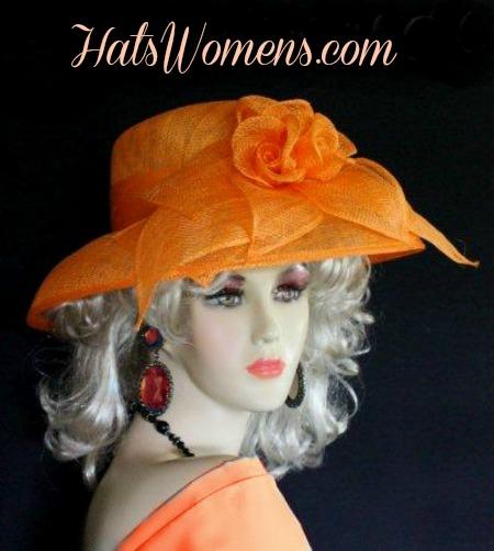 ddde490a Orange Sinamay Straw Hats, Orange Kentucky Derby Hats, Orange Dress Hats  Lady's, Orange