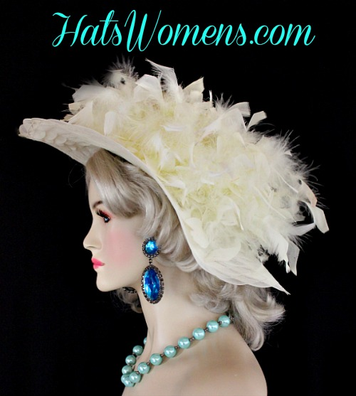 01cd831e52170 Ladies Ivory Wide Brimmed Designer Hat Choose Feather And Hat Colors,  Fashion Church Wedding Kentucky Derby Hats