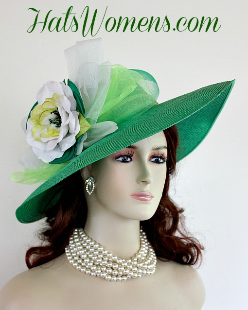 48d59dcf Kelly Green Designer Fashion Hat, Lime Green Hats, White Dress Hats, Hats  For