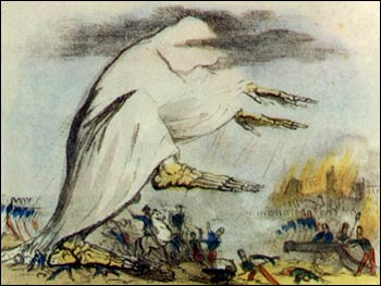Cholera searching for his big clown shoes. Illustration of Cholera being spread by Miasma, by Robert Seymour