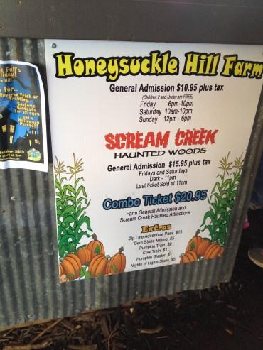 Honeysuckle Hill Farms sign