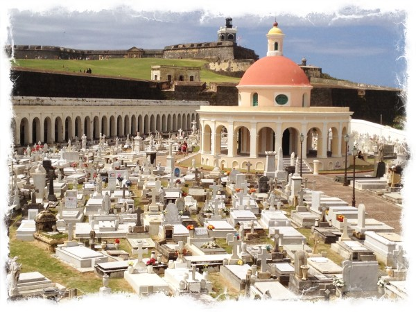 Mausoleum with El Morro Lighthouse in background