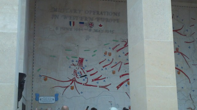 Map inside memorial at Normandy American Cemetery.