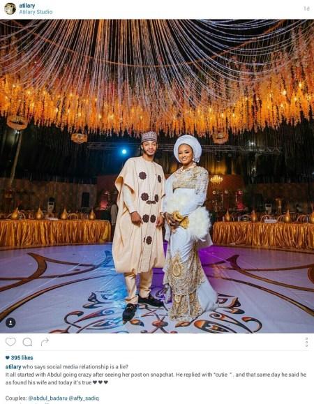 Hotunan auren ɗan gwamnan Jihar Jigawa da zuƙeƙiyar budurwarsa da suka hadu a Snapchat