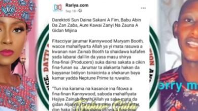 Maryam Booth Tasa Anyi Ram Da Matashin Da yayi Mata Kazafi Akan Bidiyon Tsiracinta