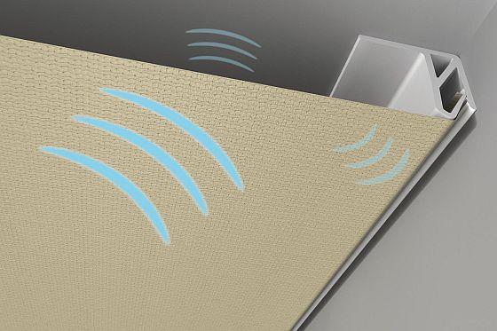 Mit Decken- und Wandverkleidungen kann der Schall in Gebäuden deutlich reduziert werden. (Foto: Baumann Spanndecken)