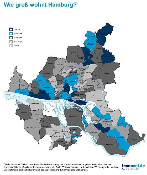 Die Unterschiede in der Wohnfläche von Stadtteil zu Stadtteil sind enorm. (Grafik: Immonet)