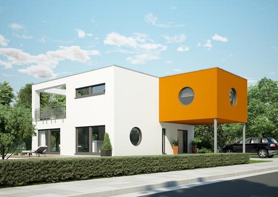 Sorgte 2010 für Aufsehen: der kubistische Entwurf FZ 104 - 104 von OKAL. Der angesetzte Würfel bringt ein weiteres Zimmer und dient zugleich als Wetterschutz. (Foto: OKAL Haus GmbH)