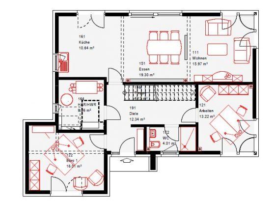 Das Erdgeschoss des neuen Musterhauses in Werder teilt sich in einen Bereich zum Arbeiten und einen zum Wohnen.