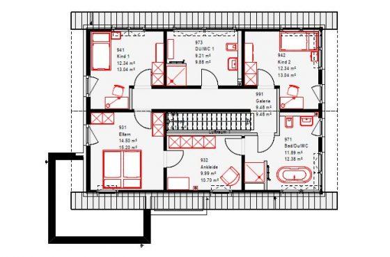 Im Obergeschoss, das durch den hohen Kniestock fast ohne Schrägen auskommt, finden sich neben dem EnSuite-Bereich für die Eltern noch zwei Kinderzimmer und ein separates Duschbad.