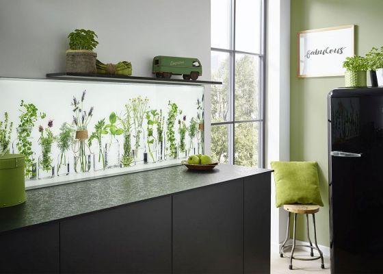 Moderne Küchenrückwand aus Glas mit Druck