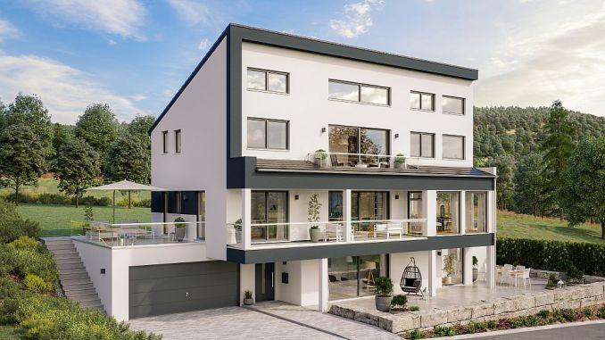 Einfamilienhaus mit Pultdach von Schäfer Fertighaus