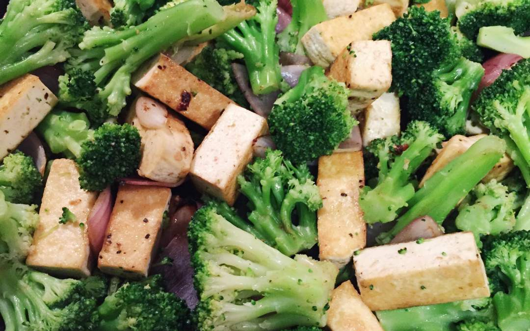 Tofu Broccoli Stir-fry with Almond Chili Sauce
