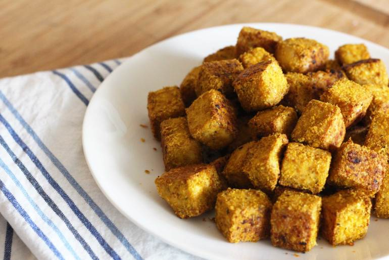 vegan tofu nuggets with nutritional yeast