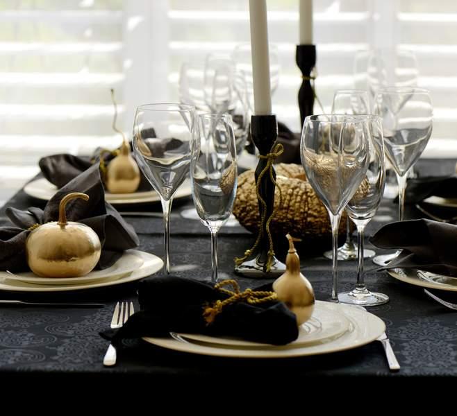 decoration de table noel noir et argent