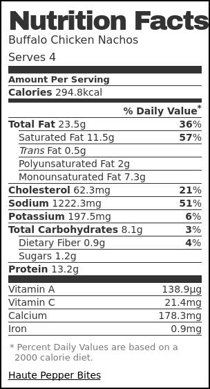 Nutrition label for Buffalo Chicken Nachos