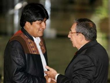 Evo Morales and Raul Castro
