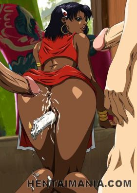 Chocolate skinned hentai biotch jumping a immense knob in a gang-bang