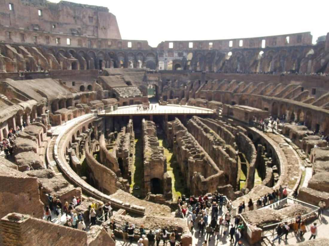 The inside of the Colosseum.