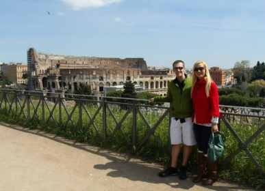 This view of the Colosseum is on a path near the exit of the Roman Forum.