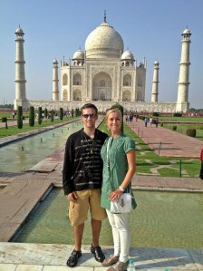 My husband and me in front of the Taj Mahal.