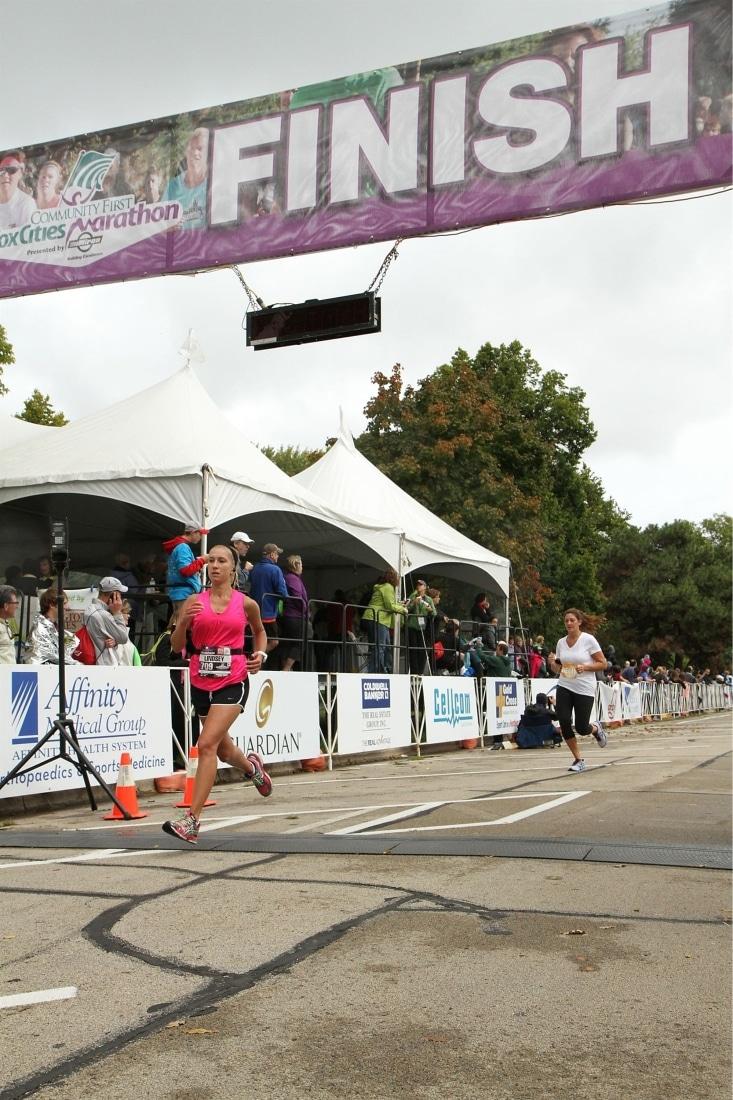 Sprinting across the finish line! Wahoo!