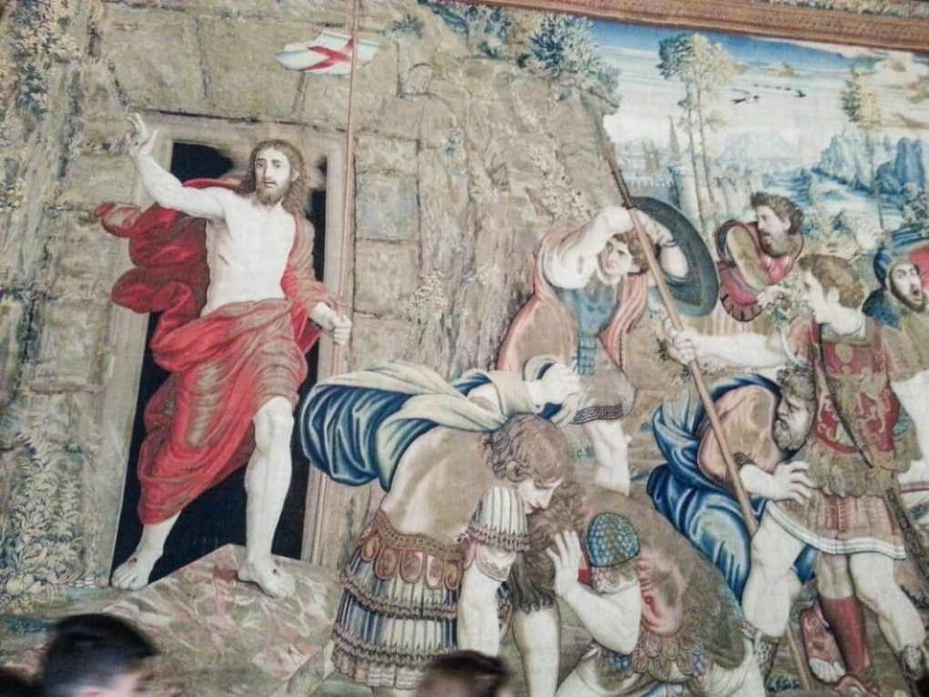 The Resurrection of Christ tapestry from the 16th century. These tapestries are enormous, and took up entire walls. Needless to say, the took many, many years to make.