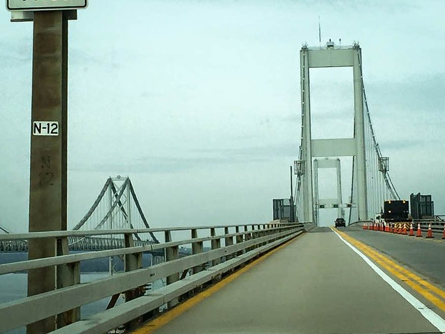 Driving across the Chesapeake Bay Bridge. (Photo credit: Trina)