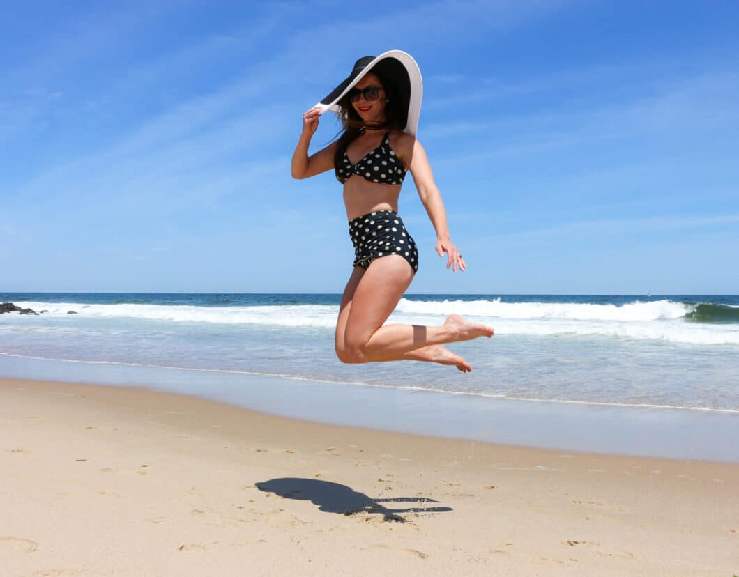 Esther Williams 50s polka dot, high-waisted bikini bottoms + halter top