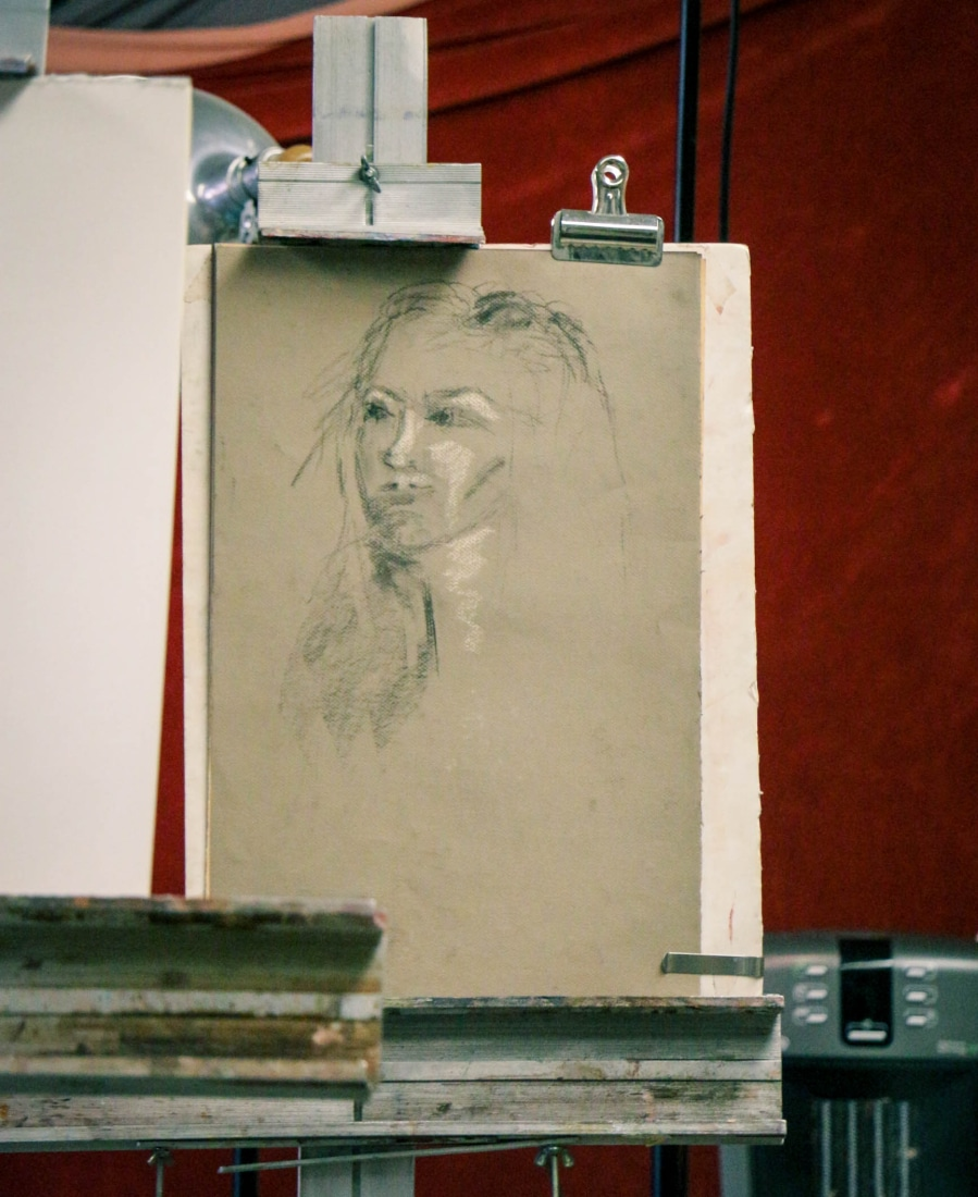 The beginning stages of the portrait.