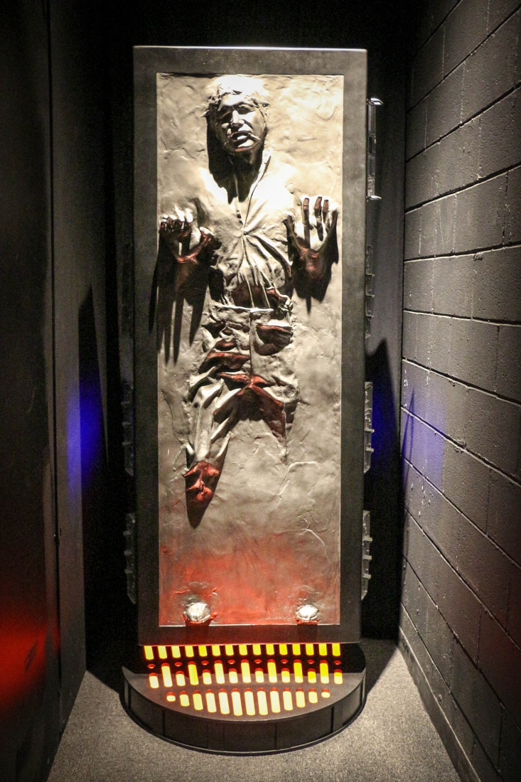 Han Solo frozen in carbonite.