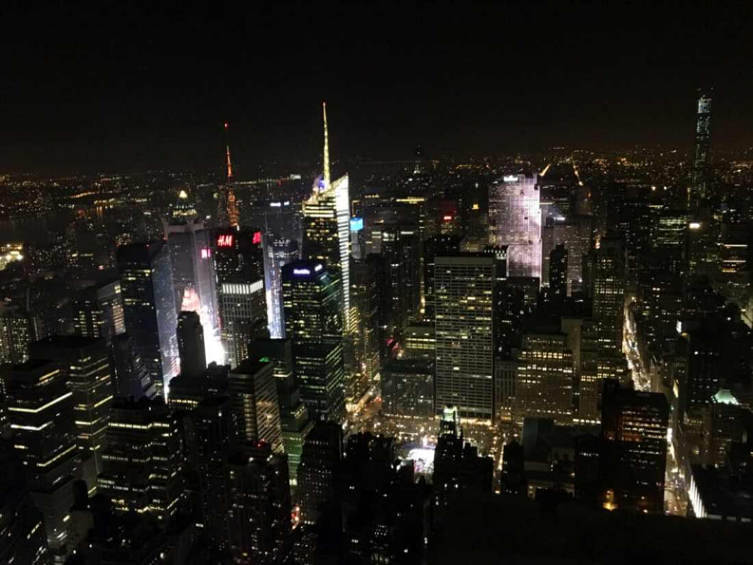 View from the Empire State Building at night.
