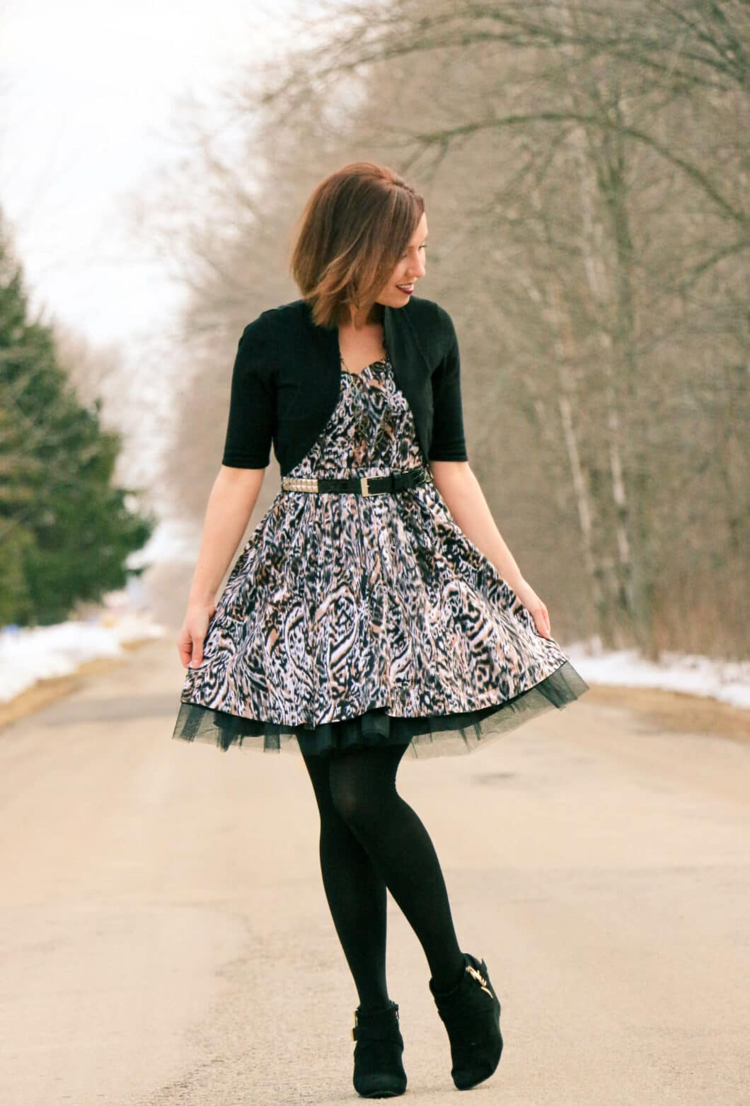 leopard print tulle dress