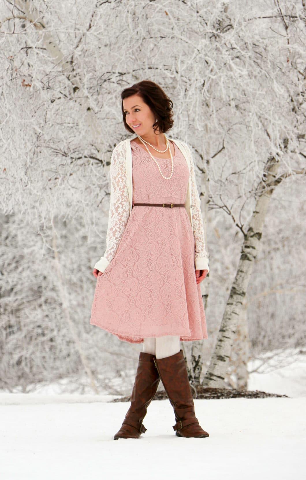 Styling a PinkBlush Dress for a Winter Wonderland