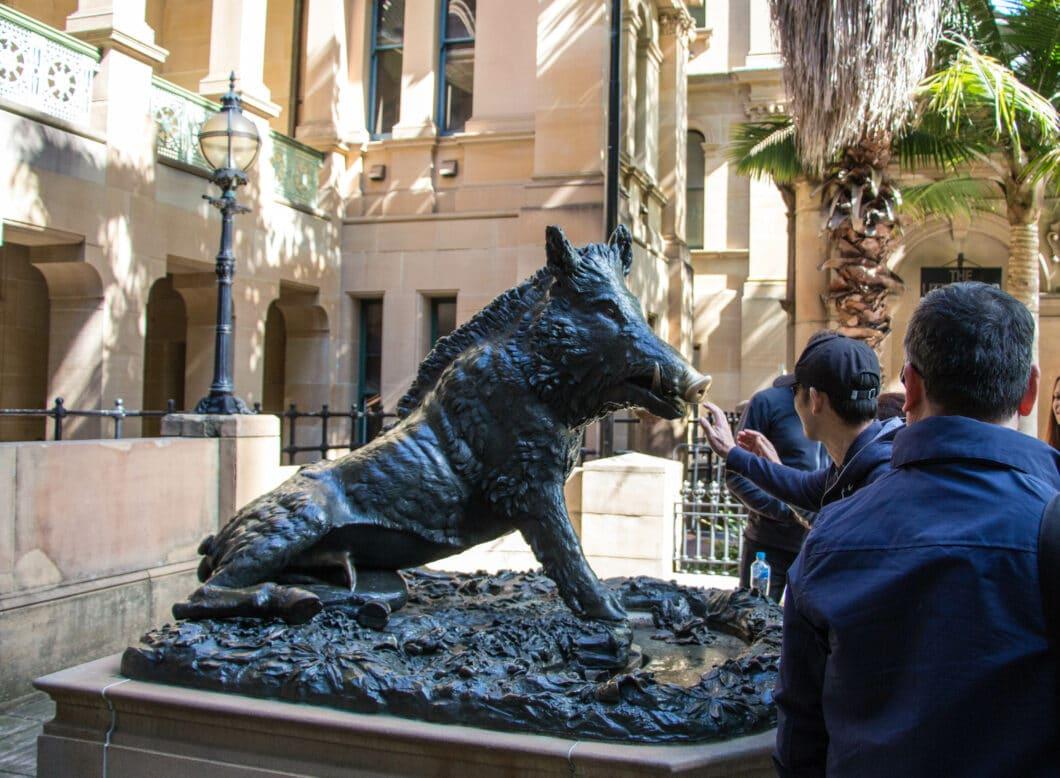 rum hospital boar statue