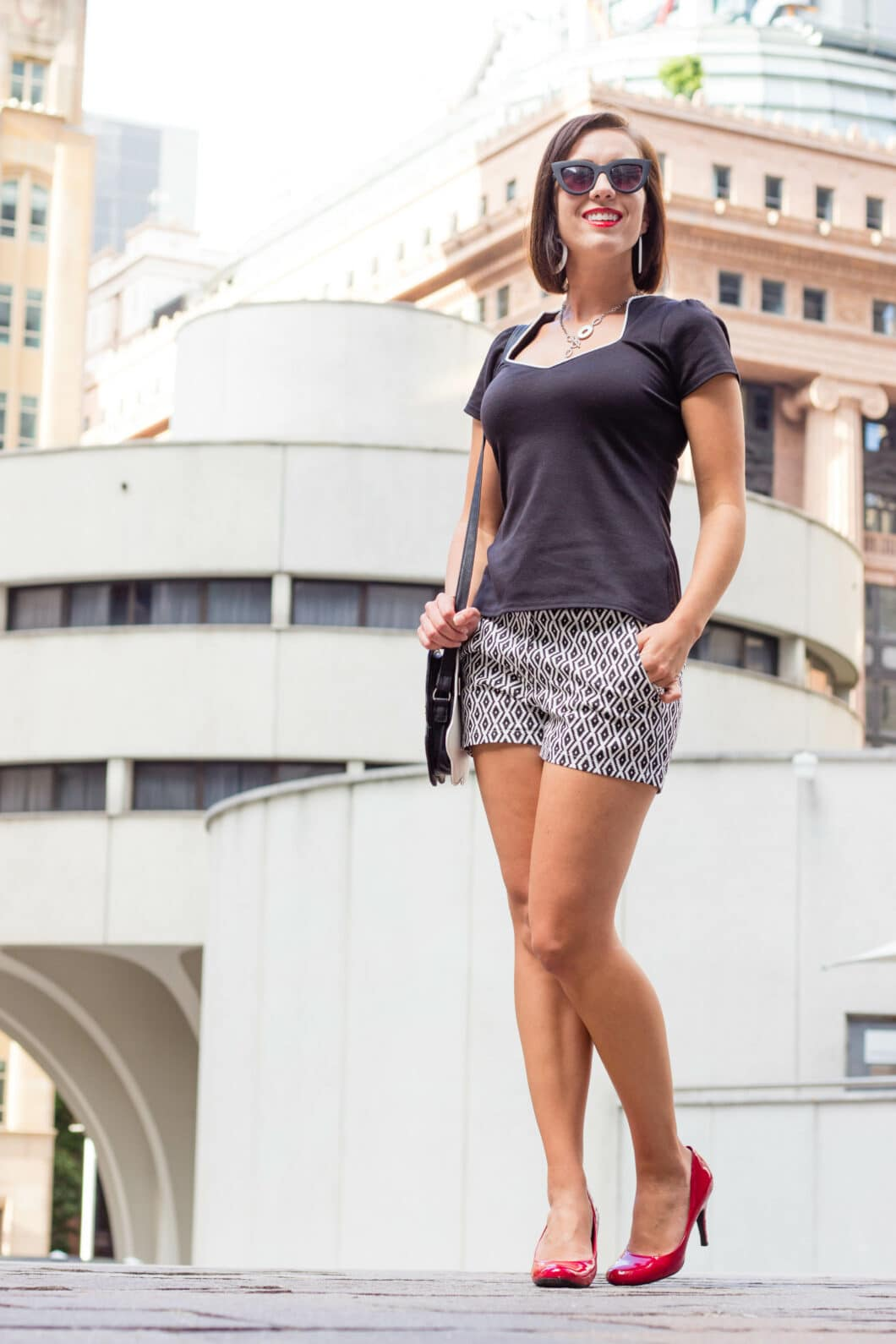shein black and white high waisted shorts How to Style Patterned Shorts for Summer