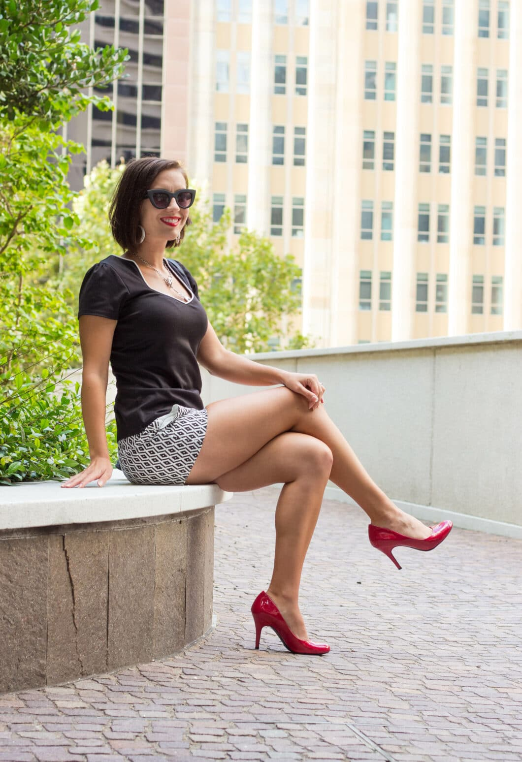 shorts and heels How to Style Patterned Shorts for Summer